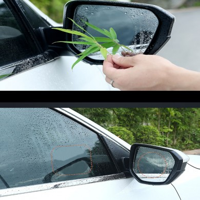 2 Pcs 8 cm Car Waterproof PET Anti-fog espelho retrovisor Soft película protetora transparente rodada