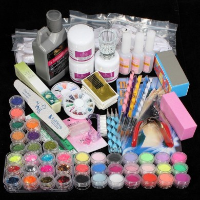 42 Acrylpuderpinsel Glitter Nail Clipper Datei Set