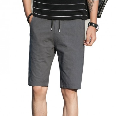 Summer Men Cotton Straight Leg Sport Shorts Casual Elastic Waist Pockets Shorts Knee-Length Shorts