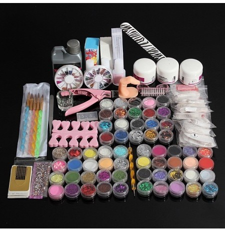 60 Acrylic UV Powder Glitter Glue Nail Art Tool Kit Set