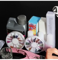 60 Acryl Powder Glitter Glue Nail Art Tool Kit Set