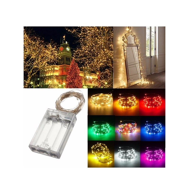 4M 40 LED Silver Wire Fairy String Light Battery Powered Waterproof Xmas Party Decor (Color: Warm White) фото
