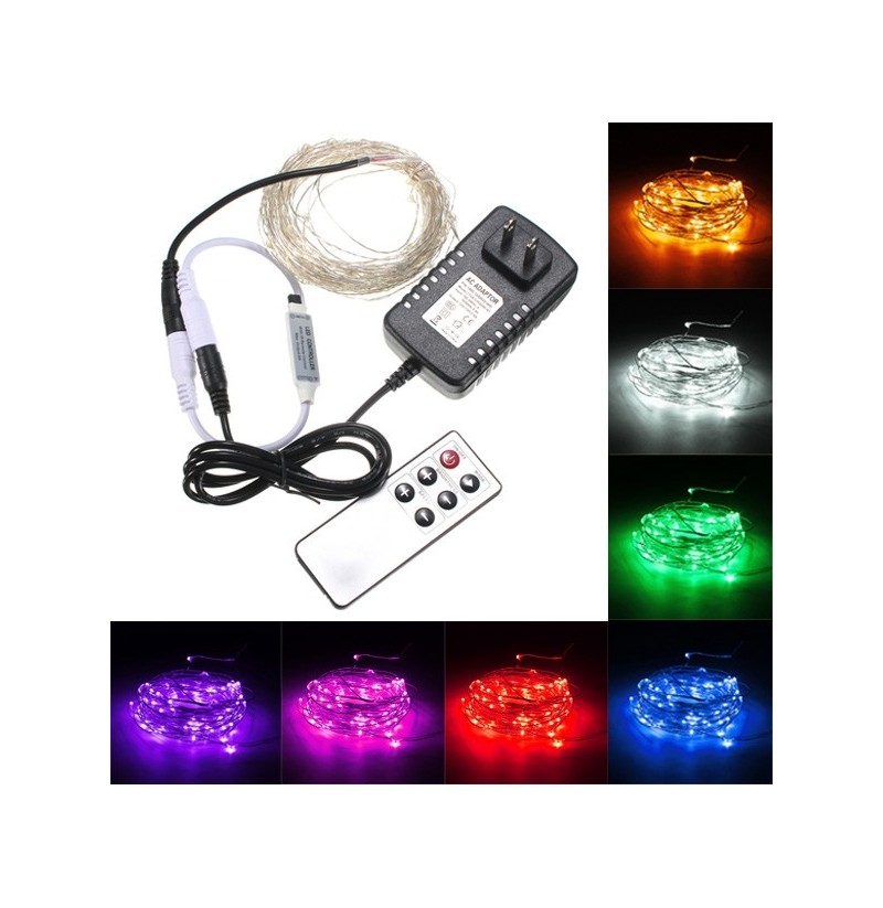 10M 100 LED Silver Wire Waterproof Fairy String Light Xmas Lamp With Adapter Remote (Color: Warm White) фото