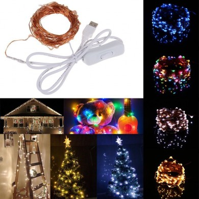 10M 100 impermeabile USB LED String fairy Rame Luce HoliDay del cavo con interruttore per la decorazione del partito