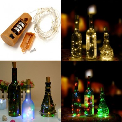 Battery Powered 8 LEDs Cork Shaped Outdoor LED Night Starry Light Wine Bottle Lamp for Xmas Party