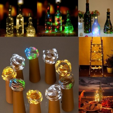 Batteriebetriebene 15 LEDs Cork Shaped LED Sliver Wire Starry Light Weinflasche Lampe für Xmas Party Out