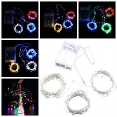 Batterie PowerEd 10M Wasserdichte vier Modi Optionale Silber Wire Fairy String Lights Für Weihnachten Party