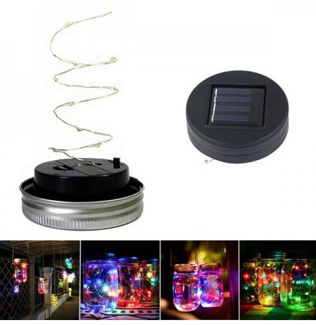Solar Powered 1M 10LEDs Black Cover Mason Jar Lid Insert Licht Fairy String Wire Lampe Garten Dekor