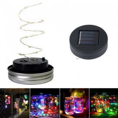 Solar Powered 1M 10LEDs Black Cover Mason Jar Lid Insert Light Fairy String Wire Lamp Garden Decor