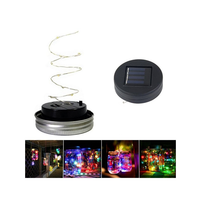 Solar Powered 1M 10LEDs Black Cover Mason Jar Lid Insert Light Fairy String Wire Lamp Garden Decor (Color: Warm White) фото