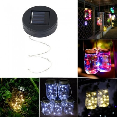 Солнечная Powered 2M 20LEDs Mason Банка Lid Fairy String Light Провод Лампа Для Сад Decor