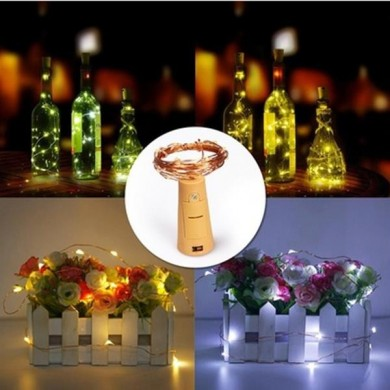 Battery Powered 15LEDs Cork Shaped Wine Bottle Night Fairy String Light for Christmas Party