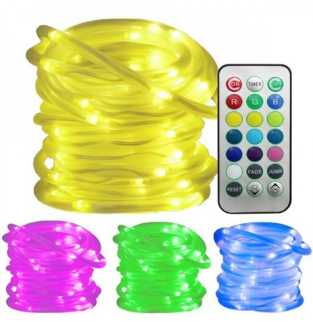 Battery Powered 5M 10M RGB Waterproof LED Rope Copper Wire String Light for Wedding +21Keys Remote