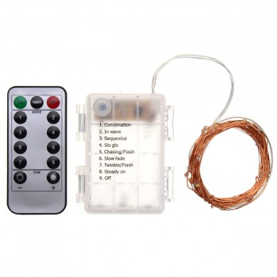 Battery Powered 5M 50LEDs Waterproof Copper Wire Fairy String Light for Christmas +Remote Control