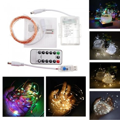 Battery USB Powered 5M 10M 8Modes Copper Wire Fairy String Light With Remote Control for Christmas