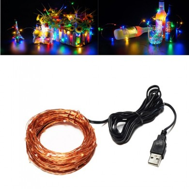 USB Powered 10M 100LEDs Colorful Rame Wire Fairy String Light per Natale DC5V