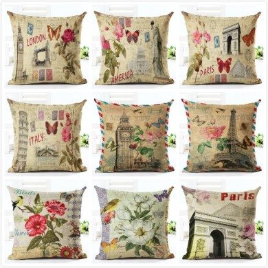 Honana 45x45cm Home Decoration Eiffel Tower Style Flowers Butterflies Pillow Case Cotton Linen Cushion Cover Home Sofa Car Decor