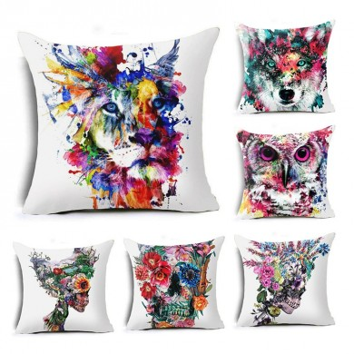 Honana 45x45cm Home Decoration Colorful Oil Painting Animals and Skull 6 Optional Patterns Cotton Linen Pillowcases Sofa Cushion