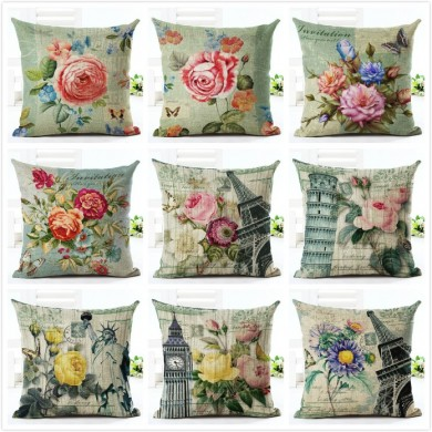 Honana HT-516 Flower Eiffel Tower Style Flower Pillow Case Cotton Linen Cushion Cover Home Sofa Car Decor