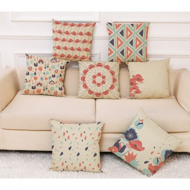 Honana Colorful Flower Creative Pattern Pillow Case Cotton Linen Throw Cushion Cover Car Home Sofa Decorative Pillowcase