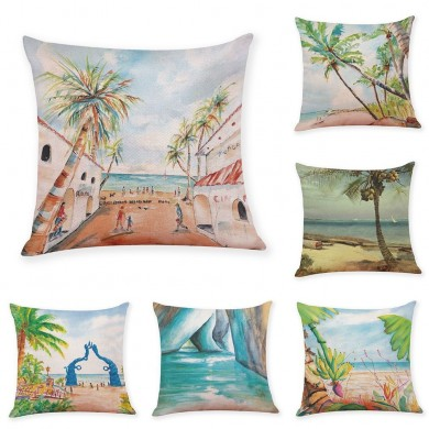 Honana 45x45cm Home Decoration Colorful Beach Patterns Cotton Linen Pillow Case Sofa Cushion Cover