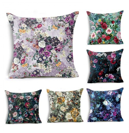 Honana 45x45cm Home Decoration Colorful Flowers Plants 6 Optional Patterns Cotton Linen Pillowcases Sofa Cushion Cover