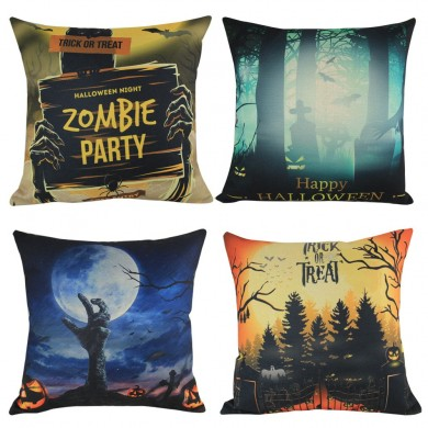 Multi Pillow Case Halloween Throw Pillow Cover Flax Square Soft Home Bar Christmas Party Pillowcase
