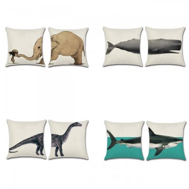 Elephant Shark Whale Dinosaur Cushion Cover Cotton Linen Pillow Case Throw Wedding Decor Pillowcase