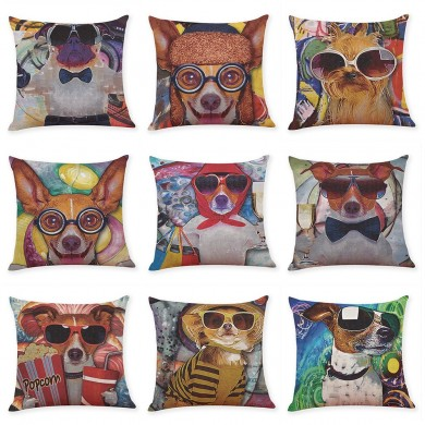 Honana BX 45x45cm Animal Print Dog Luxury Cushion Graffi Style Throw Pillow Case Pillow Covers