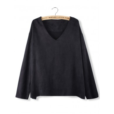 Women Casual V-Neck Long Sleeve Loose Pullover Sweatshirt