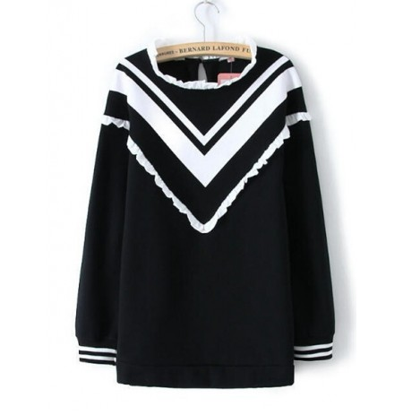 Women V Stripe  Patchwork Fleece Loose Pullover Sweatshirt