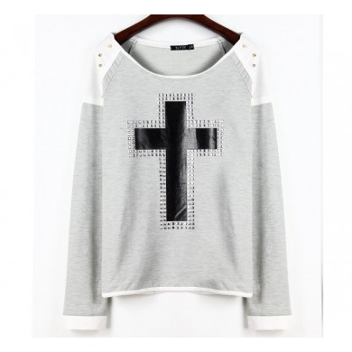 Women Hoody Long Sleeve Sportswear Rivet Cross Printed Sweatshirt