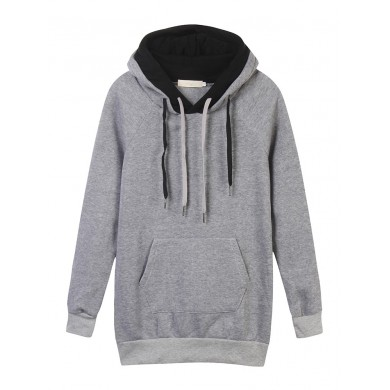 Velvet Drawstring Pocket Color Block Hood Pullover Sweatshirt