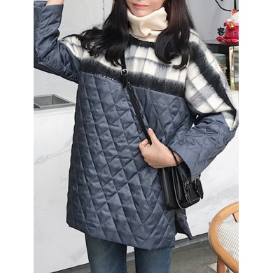 Women Patchwork Two Fake Pieces Turtleneck Casual Hoodies