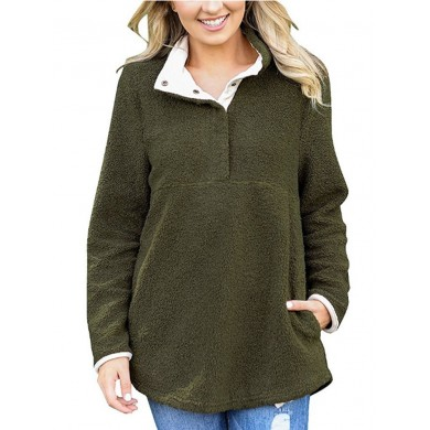 Casual Women Stand Collar V-Neck Sweatshirt with Pocket
