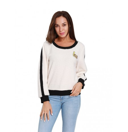 Damen Fleece-Liebesbrief-Patchwork-Sweatshirt