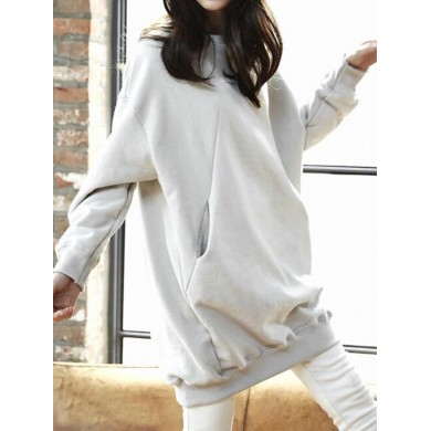 Women Autumn Loose Pullover Solid Color Long Sweatshirts