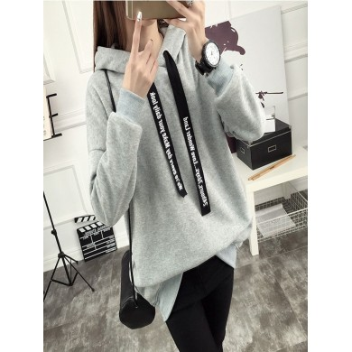 Esporte Mulheres Pure Color Mid-Long Hoodies Moletons