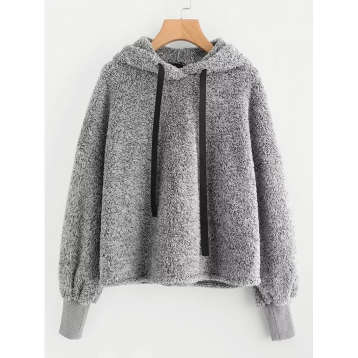 Women Solid Color Fleece Hooded Long Sleeve Sweatshirt