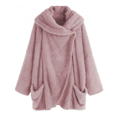 Women Solid Color Fleece Batwing Sleeve Coats with Pockets