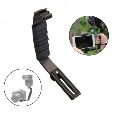 Universal Camera Grip L Bracket with 2 Side Hot Shoe Mount Video Light Flash DSLR Holder Camcorder