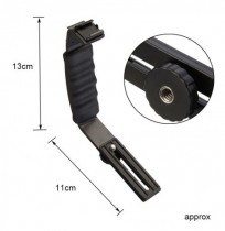 Universale Camera Grip L Staffa con 2 laterali Hot Shoe Mount Luce video Flash Holder DSLR Videocamera