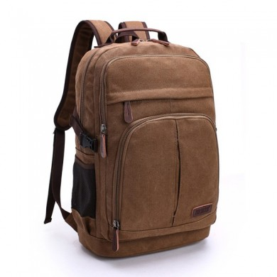 Men Canvas Leisure Backpack Outdoor Travel Hiking Capacity Multifunction Shoulders Bag