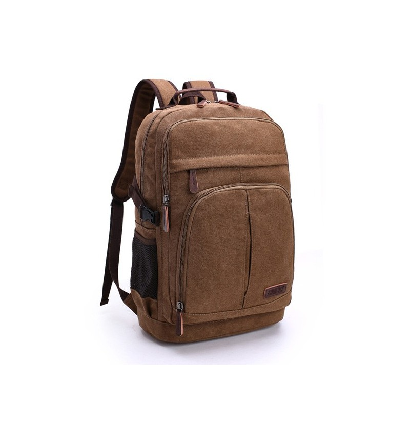 Men Canvas Leisure Backpack Outdoor Travel Hiking Capacity Multifunction Shoulders Bag (Color: Army Green) фото