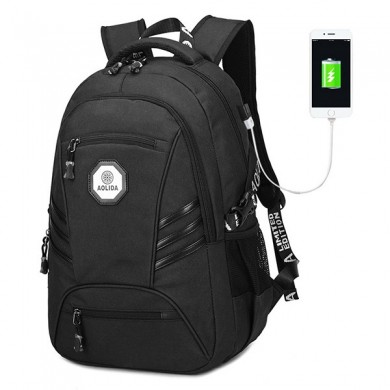 USB Men PVC Waterproof 18 Inches Laptop Backpack