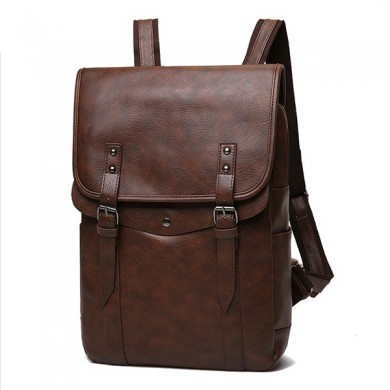 Men Vintage Casual Backpack Soft Leather Laptop Bag