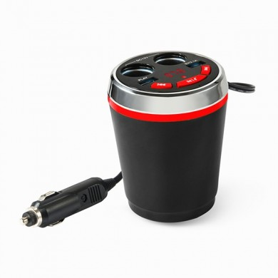 Bluetooth Wireless FM Car Cigarette Lighter Dual USB Charger Socket Cup Holder Adapter Handfree call