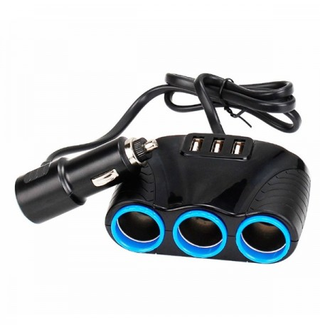 Car Three Hole Cigarette Socket 3 USB Adapter Multifunctional Car Charger
