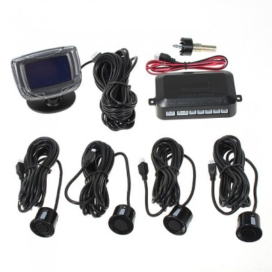 4 sensores de estacionamento carro reverter frente display LCD traseiro alarme radar sistema de backup