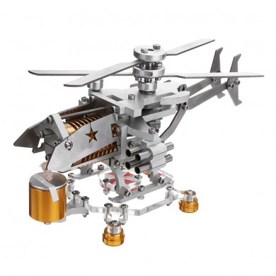 Atualize Stirling Motor Modelo Militar Helicóptero Design Ciência Metal Toy Collection